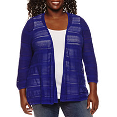 St. John's Bay® 3/4 Sleeve Open Stitch Cardigan - Plus
