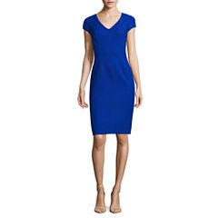 Donna Ricco Short Sleeve V-Neck Sheath Dress-Petites