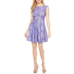 Danny & Nicole Sleeveless Lace Fit & Flare Dress-Petites