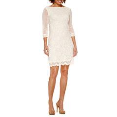 Tiana B 3/4 Sleeve Lace Shift Dress-Petites