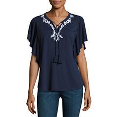 Liz ClaiborneFlutter Sleeve Split Crew Neck T-Shirt