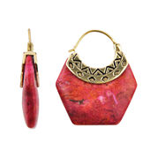 Art Smith by BARSE Genuine Red Sponge Coral Earrings