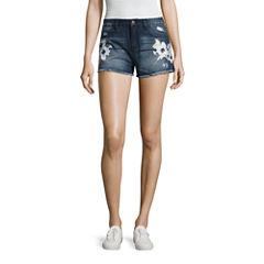 Rewash Floral Paint Fray Hem Shorts-Juniors