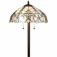 Amora Lighting AM205FL18 tiffany style floral white floor lamp 62 in high