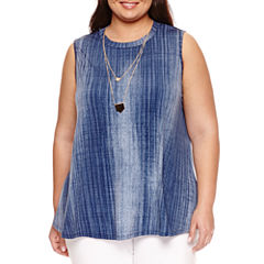 Alyx Sleeveless Knit Tank Top with Necklace-Plus