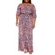 Boutique + Long Sleeve Maxi Dress-Plus