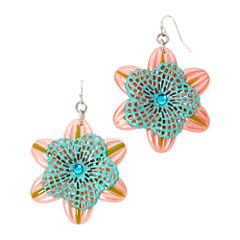 Aris by Treska Pink Silver-Tone Flower Earrings