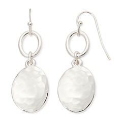 Liz Claiborne® Silver-Tone Hammered Double Drop Earrings
