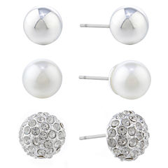 Gloria Vanderbilt Gray Crystal Stud Earrings