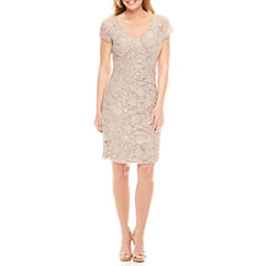 Scarlett Short Sleeve Embellished Sheath Dress