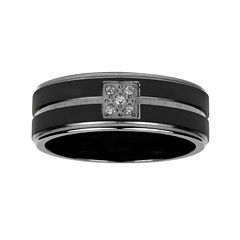 Mens Diamond Accent Black Titanium Wedding Band
