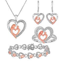 1/5 CT. T.W. Diamond Mom and Baby 4-pc. Jewelry Set