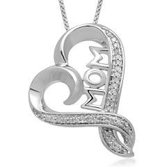 Hallmark Diamonds 1/10 C.T. TW. Diamond Sterling Silver Mom Heart Pendant