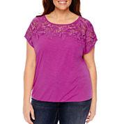 St. John's Bay Sleeveless Round Neck T-Shirt-Plus