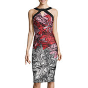 Signature by Sangria Floral Halter Sheath Dress