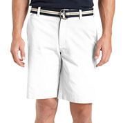 IZOD® Belted Flat-Front Cotton Shorts