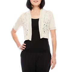 Perceptions Short Sleeve Crochet Square Shrug
