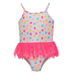 Candlesticks Heart Print One Piece Swimsuit Baby Girls