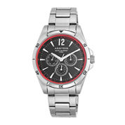 Armitron® Mens 5148 Black and Red Stainless Steel Link Watch