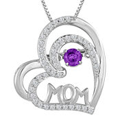 Love in Motion™ Genuine Amethyst & Lab-Created Sapphire Sterling Silver Pendant