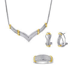 1/5 CT. T.W. Diamond Two-Tone 3-pc. Jewelry Set