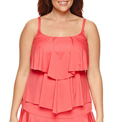 Liz Claiborne Solid Tankini Swimsuit Top-Plus