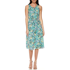 Black Label by Evan-Picone Sleeveless Floral Belted A-Line Dress