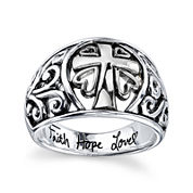 Inspired Moments™ Sterling Silver Scroll Cross Ring