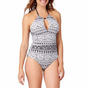 Liz Claiborne Santorini Stripe One Piece Swimsuit or Coverup