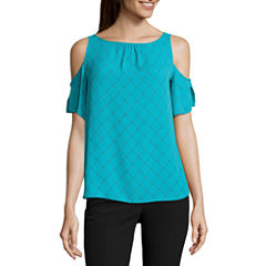 Worthington Short Flutter Sleeve Cold Shoulder Blouse