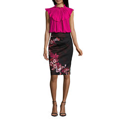 Worthington Sleeveless Ruffle Neck Keyhole Blouse and Side Zip Pencil Skirt