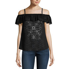 nicole by Nicole Miller Off Shoulder Burnout Top
