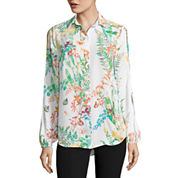 City Streets Long Sleeve Y Neck Blouse
