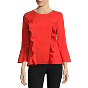Worthington 3/4 Sleeve Ruffle Blouse