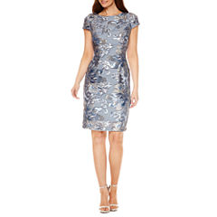 Blu Sage Short Sleeve Sequin Sheath Dress
