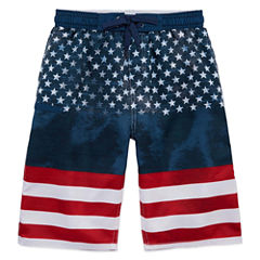 Burnside Boys American Flag Swim Trunks-Big Kid