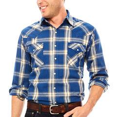 Ely Cattleman® Western Workwear Long Sleeve Snap Plaid Denim
