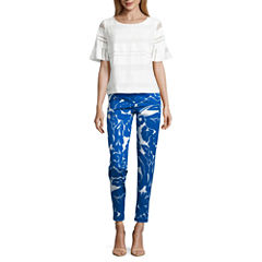 Liz Claiborne Short Ruffle Sleeve Blouse and Emma Ankle Pants