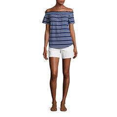 Liz Claiborne Short Sleeve Off Shoulder T-Shirt and Twill Chino Shorts