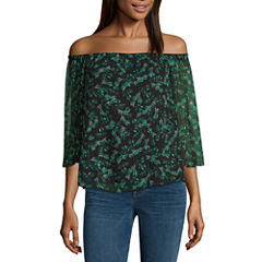 a.n.a 3/4 Sleeve Boat Neck Woven Blouse