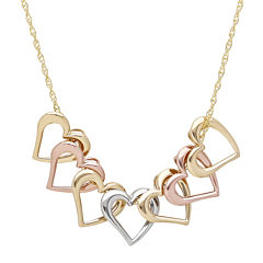 14K Tri-Color Gold Mystic Open Hearts Necklace
