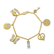 Classic Treasures™ Genuine Diamond Accent 18K Gold Over Brass Charm Bracelet