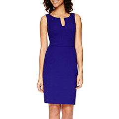 Worthington® Sleeveless Deep V-Neck Textured Sheath Dress