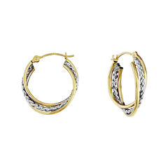 14K Two-Tone Gold 16mm Interlocking Twisted Hoop Earrings