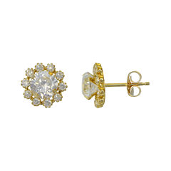 Cluster Flower Cubic Zirconia Stud Earrings 14K Gold