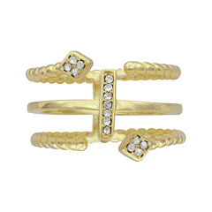 Crystal 14K Yellow Gold Over Sterling Silver Geometric Rope Ring