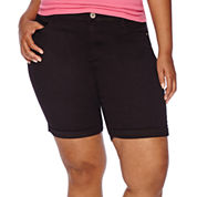Arizona Roll-Cuff Denim Bermuda Shorts - Juniors Plus