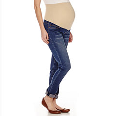 Maternity Overbelly Roll Cuff Skinny Jeans - Plus