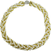 Rice Pearl Yellow Cord Necklace Sterling Silver