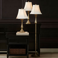 JCPenney Home 3-Sets Hennessey Floor & Table Lamps (Antique Brass)